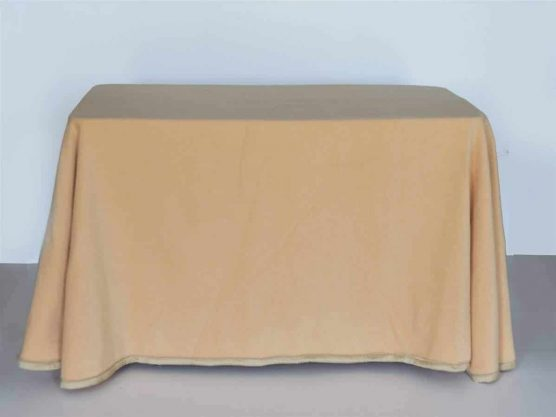 Falda mesa camilla rectangular online de terciopelo color beige