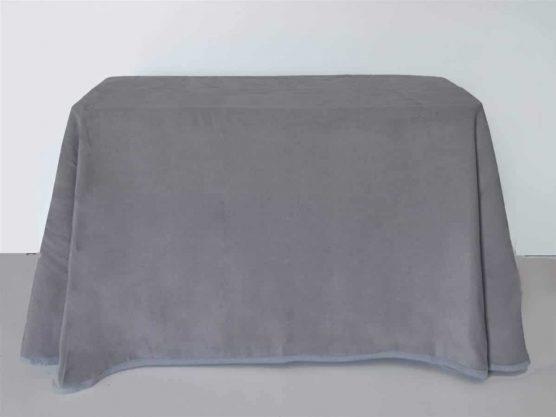 Falda mesa camilla rectangular online de terciopelo color gris