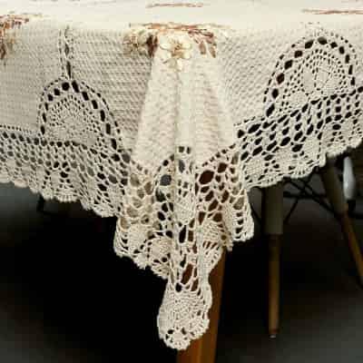 Mantel de Ganchillo Hecho a Mano, diseño Vintage Floral de algodón, Color Beige