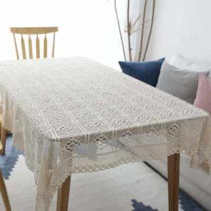 manteles rectangulares de algodón a crochet rectangulares para mesa camilla