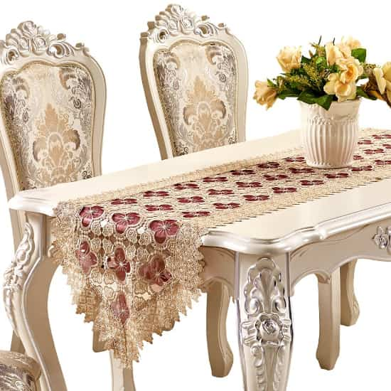 bordado vainica artesanal camino de mesa hecho a mano