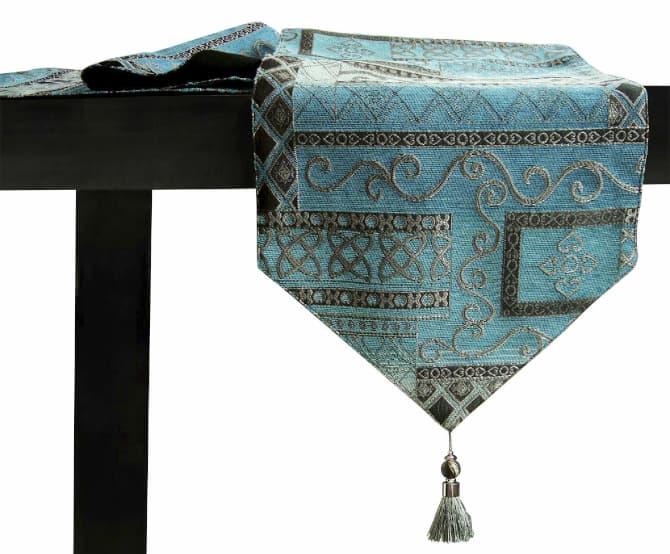 camino de mesa bordado turquesa