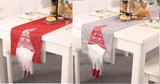 camino de mesa con barba de papanuel noel