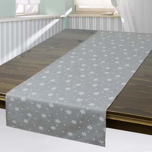 tapete camino de mesa moderno con flores color gris plata de alta calidad