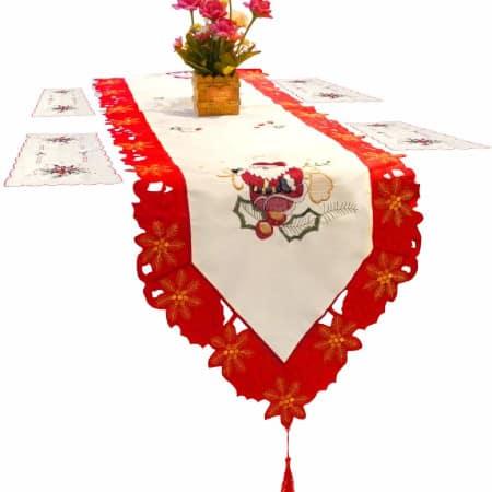 papa noel estrellas y flores: camino de mesa