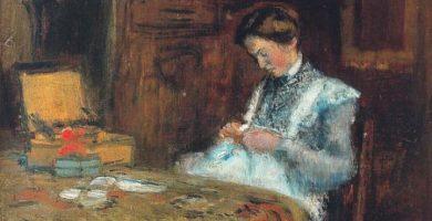 mujer que cose, dona cosint, de Joaquim Sunyer i mirò