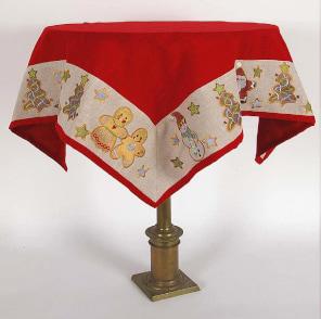 Mantel cuadrado navideño bordado color rojo con muñecos, papa noel, árbol y estrellas