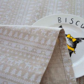 Mantel de algodon y lino con cenefas navideñas de adorno