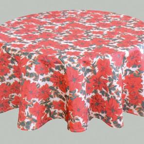 mantel de mesa redonda para las navidades con la flor de pascua y de feliz navidad