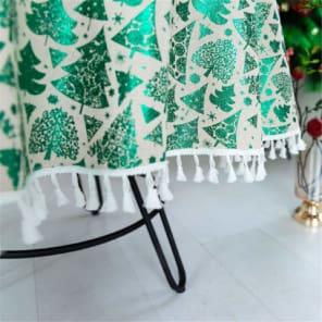 mantel de navidad para mesa redonda, mantel navideño redondo de color verde y blanco con borlas decorativas de adorno