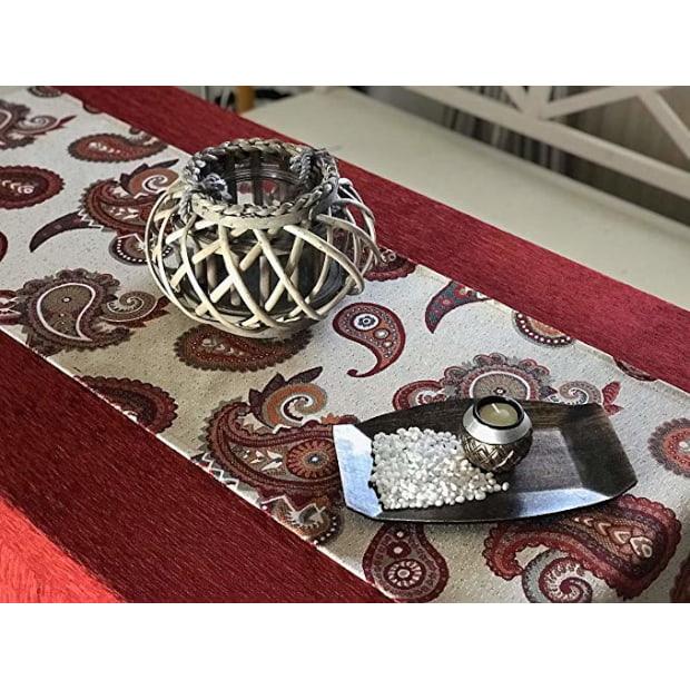 pack de falda para mesa camilla con camino de mesa a juego de color rojo en tela chenilla para el invierno