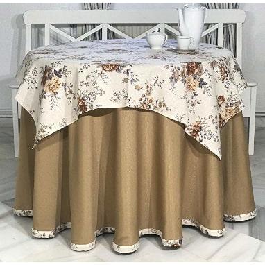 tapete y falda para mesa camilla a juego con ribeteado, conjunto mesa camilla completo