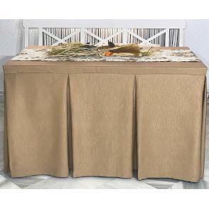 Falda de mesa camilla con fuelles de color beige marron camello