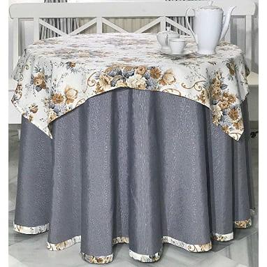 falda de mesa camilla redonda gris chenilla