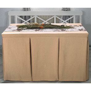 falda con fuelles para mesa camilla de color beige vainilla