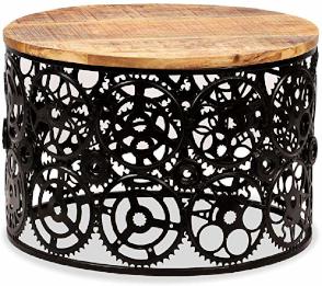 mesa de centro original redonda de estilo industrial punk