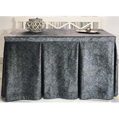 falda para mesa camilla 120x70 gris rectangular con fuelles decorativos elegantes y adornada de gala