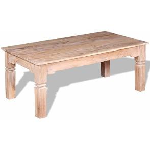 mesa de centro artesanal rectangular de madera de acacia