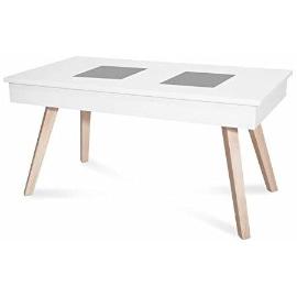 mesa de centro elevable de cristal y madera elevable estilo nórdico industrial ideal también para decoraciones vintage retro modernas