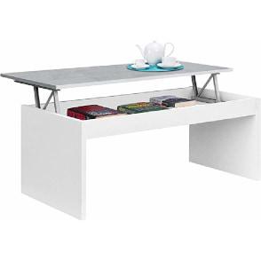 mesa de centro elevable blanca minimalista