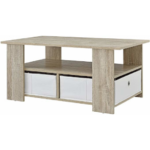mesa de centro con estantería, revistero y cajones
