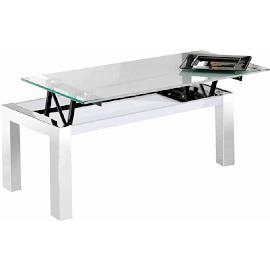 mesa de centro de cristal y acero cromado elevable blanca