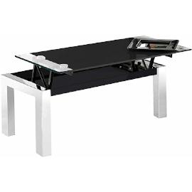 mesa elevable de cristal templado negro y patas de hierro cromado para el salon