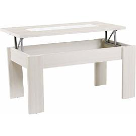 mesa de centro elevable rectangular estandar con vidrio o cristal