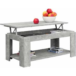 mesa de centro elevable con revistero incorporado