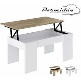 mesas de centro elevables baratas lowcost, colores blanca y roble