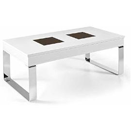 mesa de centro estilo industrial de acero madera y cristal