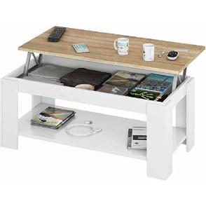 mesa de centro con repisa revistero para guardar objetos