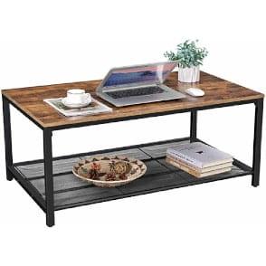 mesa centro estilo industrial con diseño vintage