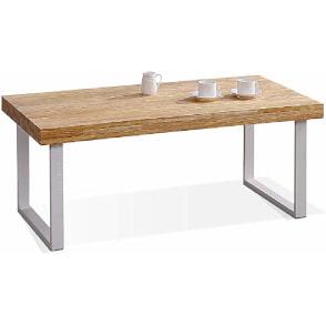 mesa de centro minimalista de estilo industrial de color blanca