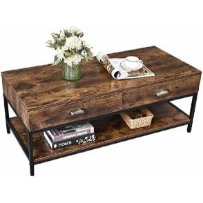 mesa de centro rectangular de diseño industrial con cajones y repisa de apoyo