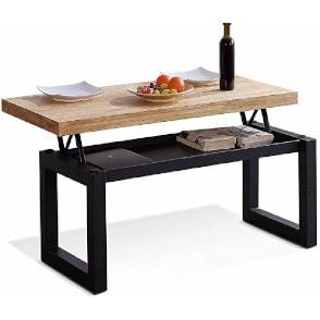 mesa de centro elevable estilo industrial para sofás