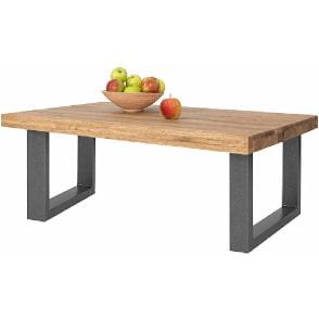 mesa de centro industrial de madera maciza de roble