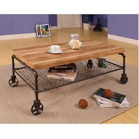 mesa de centro rectangular de estilo industrial con ruedas de estilo revolucion industrial