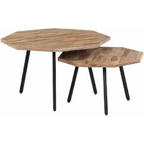 mesas de centro exagonales de madera de teca y hierro