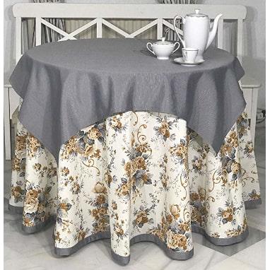 Falda camilla redonda diseñada para vestir bien la mesa camilla, conjunto completo.