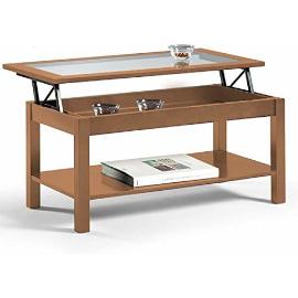 mesa centro elevable con tapa de cristal fabricada con madera maciza.