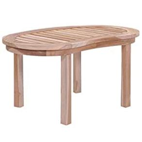 mesa centro ovalada madera pulida
