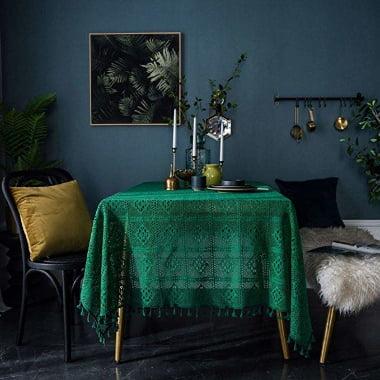 Mantel de mesa a Crochet de color verde