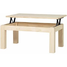 mesa centro elevable rectangular madera natural lijada cepillada