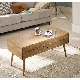 mesita de centro con encanto, pequeña, baja, elevable y de madera natural