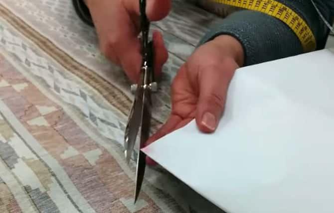 10 - cortar el centro del patrón de papel de una falda mesa camilla ovalada
