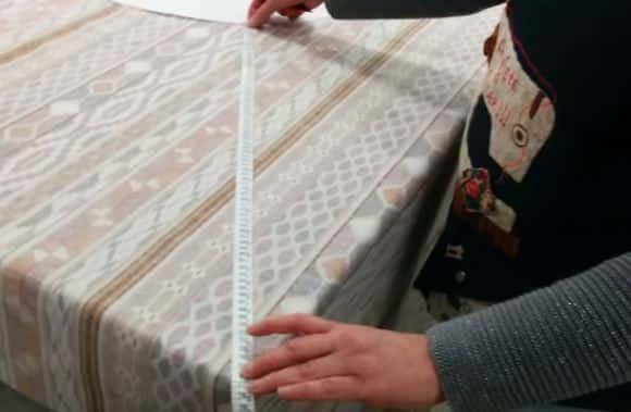14 - Sacando dimensiones de la caida de la tela para una falda camilla ovalada