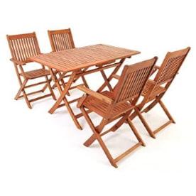 mesa comedor plegable de madera de acacia maciza con sillas a juego para el jardín exterior. mesa madera acacia.