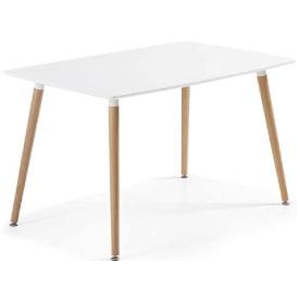 mesa de comedor fija de estilo nordico escandinavo de madera. mesa comedor blanca y madera