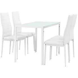 mesa comedor con sillas de color blanco y cristal